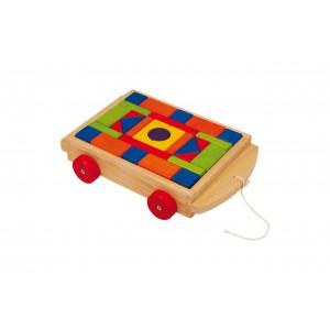 train et voiture en bois  jouet jeu de construction lucas