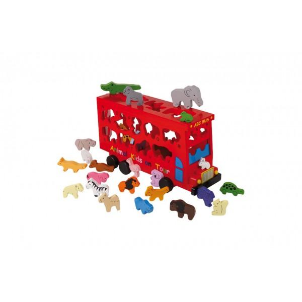 Jouet en bois bus emporte pi ces alphabet jouet en - Jouet alphabet ...